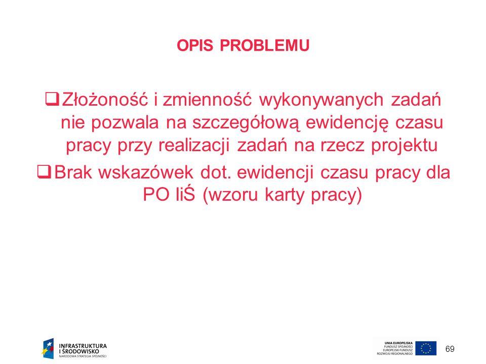 69 OPIS PROBLEMU Złożoność i zmienność wykonywanych zadań nie pozwala na szczegółową ewidencję czasu pracy przy realizacji zadań na rzecz projektu Bra