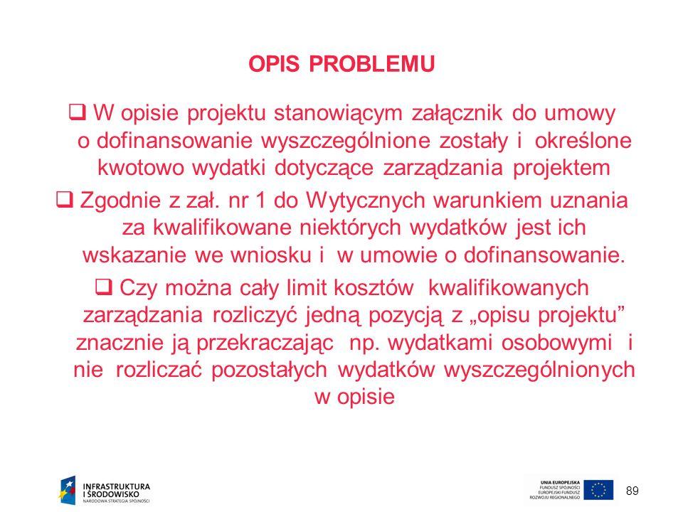 89 OPIS PROBLEMU W opisie projektu stanowiącym załącznik do umowy o dofinansowanie wyszczególnione zostały i określone kwotowo wydatki dotyczące zarzą