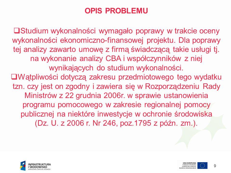 9 OPIS PROBLEMU Studium wykonalności wymagało poprawy w trakcie oceny wykonalności ekonomiczno-finansowej projektu. Dla poprawy tej analizy zawarto um