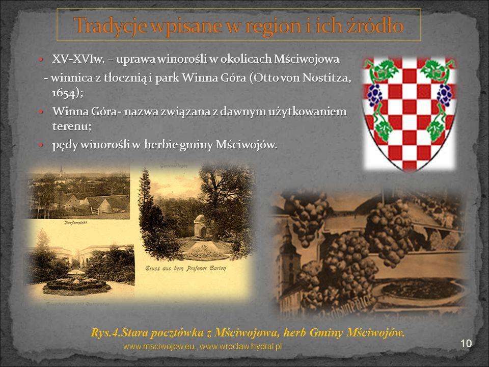 XV-XVIw. – uprawa winorośli w okolicach Mściwojowa XV-XVIw. – uprawa winorośli w okolicach Mściwojowa - winnica z tłocznią i park Winna Góra (Otto von