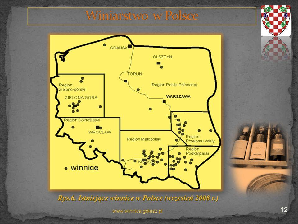 Rys.6. Istniejące winnice w Polsce(wrzesień 2008 r.) Rys.6. Istniejące winnice w Polsce (wrzesień 2008 r.) www.winnica.golesz.pl 12