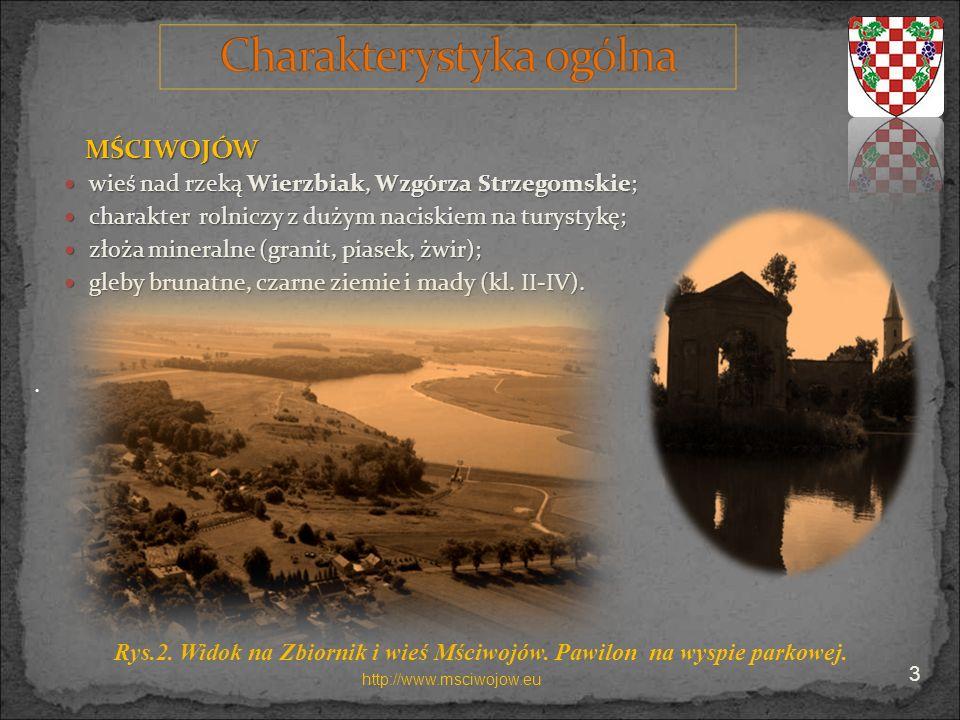 MŚCIWOJÓW wieś nad rzeką Wierzbiak, Wzgórza Strzegomskie; wieś nad rzeką Wierzbiak, Wzgórza Strzegomskie; charakter rolniczy z dużym naciskiem na tury