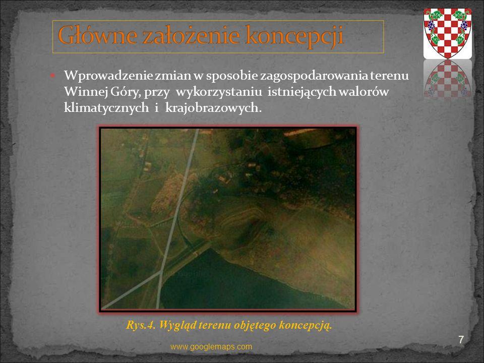 Wprowadzenie zmian w sposobie zagospodarowania terenu Winnej Góry, przy wykorzystaniu istniejących walorów klimatycznych i krajobrazowych. Rys.4. Wygl
