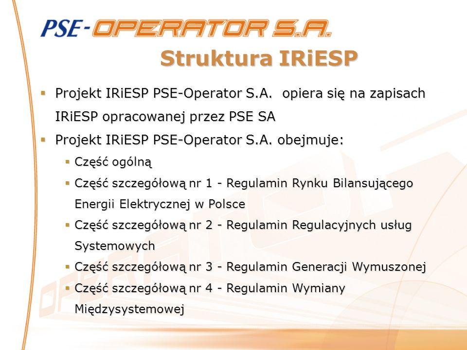 Struktura IRiESP Projekt IRiESP PSE-Operator S.A. opiera się na zapisach IRiESP opracowanej przez PSE SA Projekt IRiESP PSE-Operator S.A. opiera się n