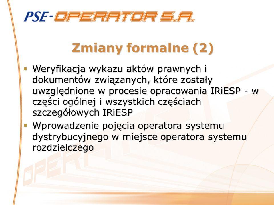 Zmiany formalne (2) Weryfikacja wykazu aktów prawnych i dokumentów związanych, które zostały uwzględnione w procesie opracowania IRiESP - w części ogó