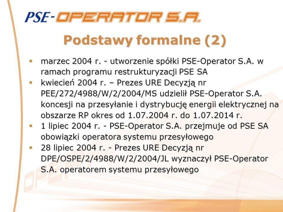 Podstawy formalne (2) marzec 2004 r. - utworzenie spółki PSE-Operator S.A. w ramach programu restrukturyzacji PSE SA marzec 2004 r. - utworzenie spółk