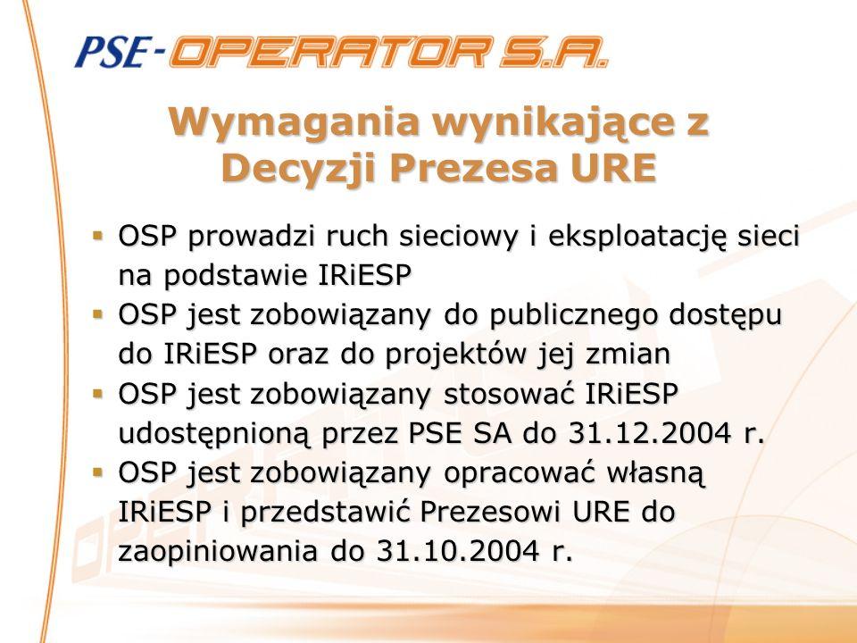 Wymagania wynikające z Decyzji Prezesa URE OSP prowadzi ruch sieciowy i eksploatację sieci na podstawie IRiESP OSP prowadzi ruch sieciowy i eksploatac