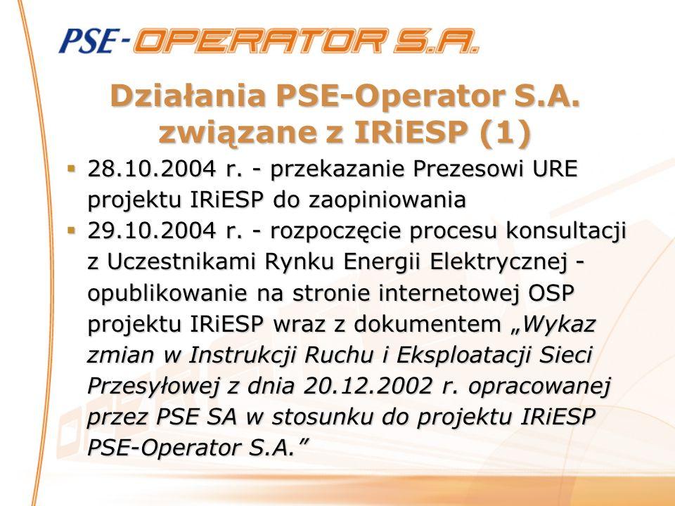 Działania PSE-Operator S.A. związane z IRiESP (1) 28.10.2004 r. - przekazanie Prezesowi URE projektu IRiESP do zaopiniowania 28.10.2004 r. - przekazan