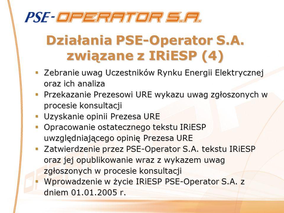 Działania PSE-Operator S.A. związane z IRiESP (4) Zebranie uwag Uczestników Rynku Energii Elektrycznej oraz ich analiza Zebranie uwag Uczestników Rynk