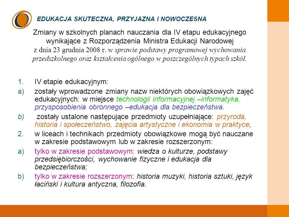 EDUKACJA SKUTECZNA, PRZYJAZNA I NOWOCZESNA Zmiany w szkolnych planach nauczania dla IV etapu edukacyjnego wynikające z Rozporządzenia Ministra Edukacj