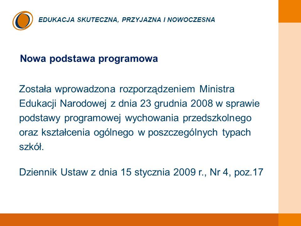 EDUKACJA SKUTECZNA, PRZYJAZNA I NOWOCZESNA Nowa podstawa programowa Została wprowadzona rozporządzeniem Ministra Edukacji Narodowej z dnia 23 grudnia