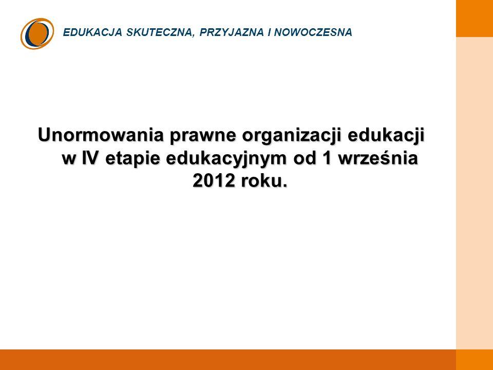 EDUKACJA SKUTECZNA, PRZYJAZNA I NOWOCZESNA Kolejność likwidacji szkół od 1 września 2012 r.