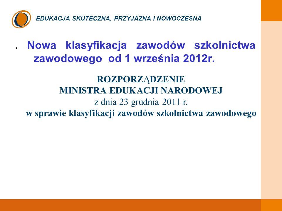 EDUKACJA SKUTECZNA, PRZYJAZNA I NOWOCZESNA. Nowa klasyfikacja zawodów szkolnictwa zawodowego od 1 września 2012r. ROZPORZĄDZENIE MINISTRA EDUKACJI NAR