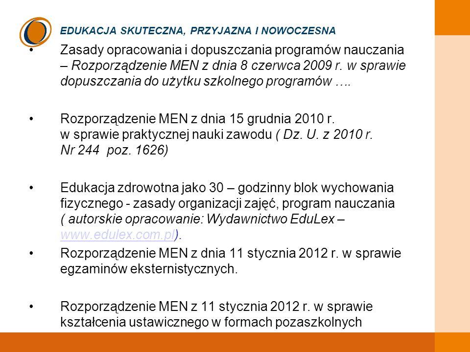 EDUKACJA SKUTECZNA, PRZYJAZNA I NOWOCZESNA Zasady opracowania i dopuszczania programów nauczania – Rozporządzenie MEN z dnia 8 czerwca 2009 r. w spraw