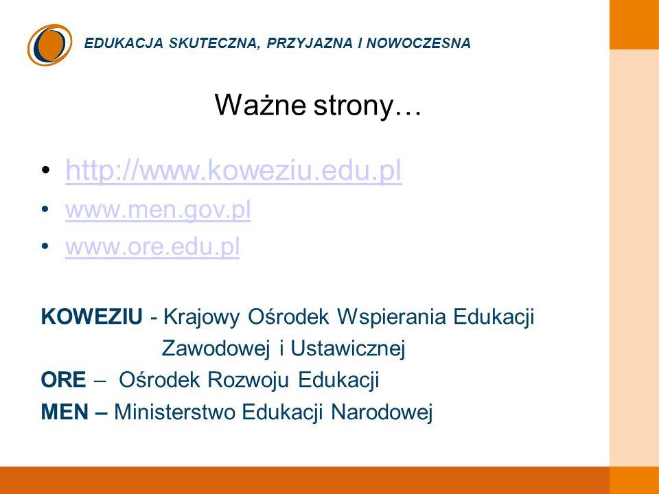 EDUKACJA SKUTECZNA, PRZYJAZNA I NOWOCZESNA Ważne strony… http://www.koweziu.edu.pl www.men.gov.pl www.ore.edu.pl KOWEZIU - Krajowy Ośrodek Wspierania