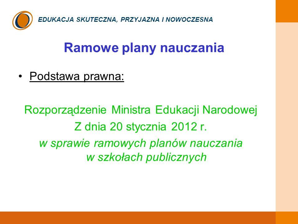 EDUKACJA SKUTECZNA, PRZYJAZNA I NOWOCZESNA Ramowe plany nauczania Podstawa prawna: Rozporządzenie Ministra Edukacji Narodowej Z dnia 20 stycznia 2012