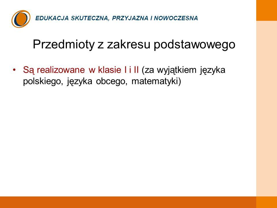 EDUKACJA SKUTECZNA, PRZYJAZNA I NOWOCZESNA Przedmioty z zakresu podstawowego Są realizowane w klasie I i II (za wyjątkiem języka polskiego, języka obc