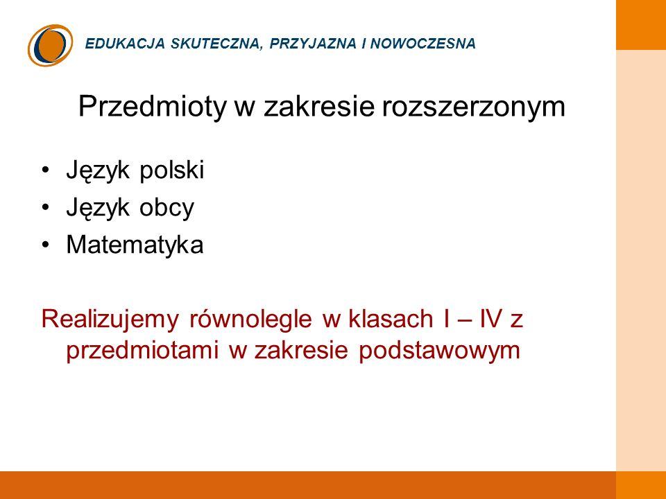 EDUKACJA SKUTECZNA, PRZYJAZNA I NOWOCZESNA Przedmioty w zakresie rozszerzonym Język polski Język obcy Matematyka Realizujemy równolegle w klasach I –