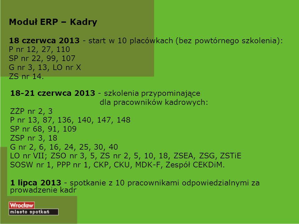 Moduł ERP – Kadry Planowana migracja danych od 5 lipca 2013 r.