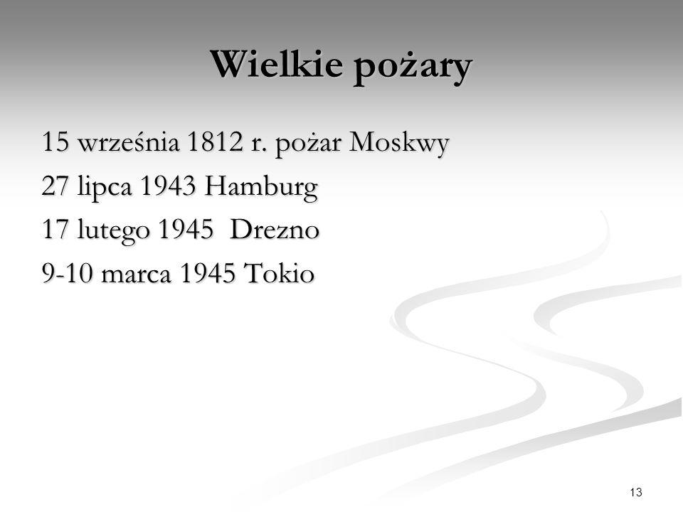 Wielkie pożary 15 września 1812 r. pożar Moskwy 27 lipca 1943 Hamburg 17 lutego 1945 Drezno 9-10 marca 1945 Tokio 13