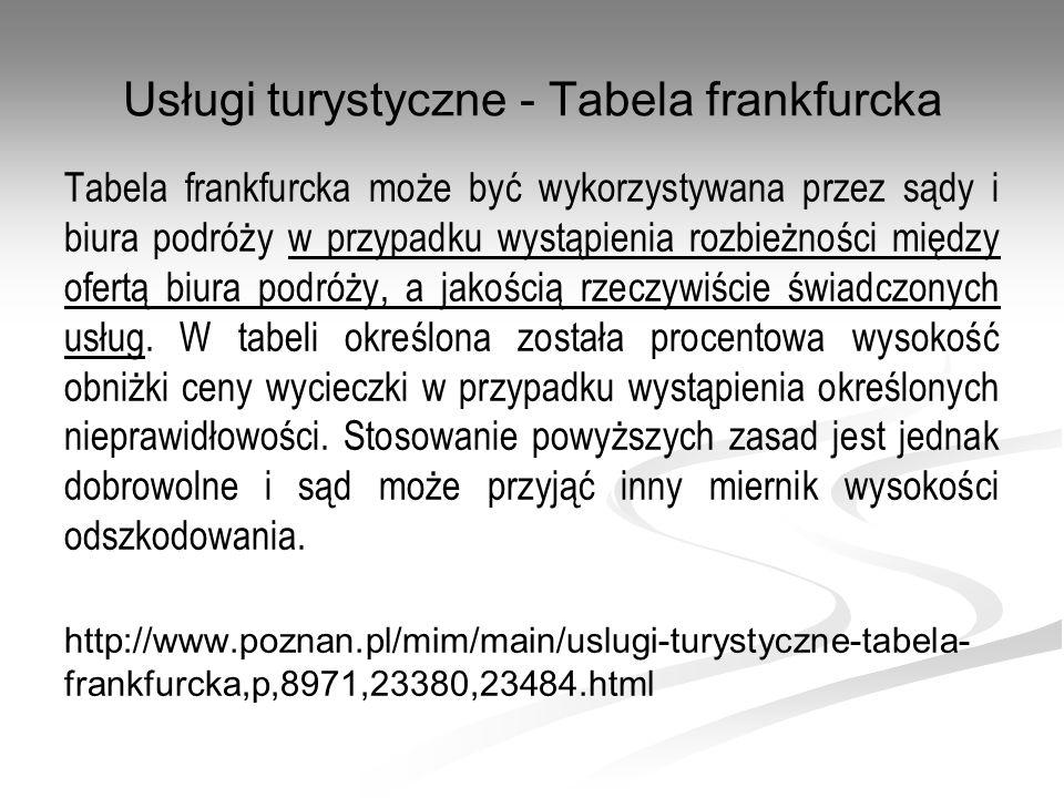Usługi turystyczne - Tabela frankfurcka Tabela frankfurcka może być wykorzystywana przez sądy i biura podróży w przypadku wystąpienia rozbieżności mię