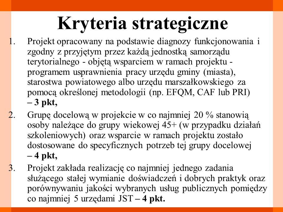 Kryteria strategiczne 1.Projekt opracowany na podstawie diagnozy funkcjonowania i zgodny z przyjętym przez każdą jednostką samorządu terytorialnego -