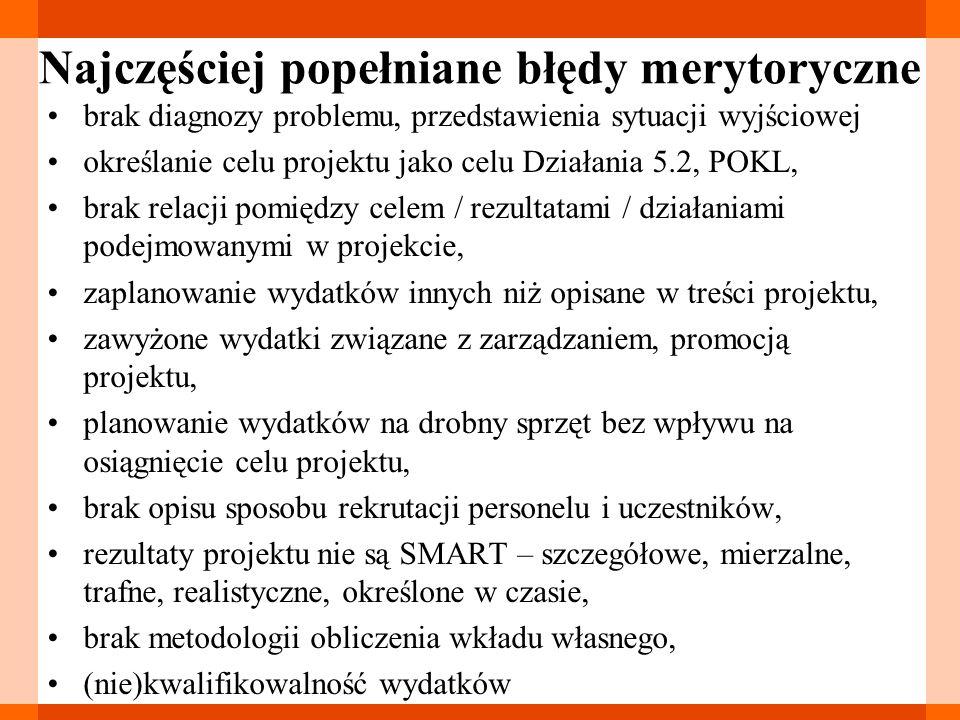 Najczęściej popełniane błędy merytoryczne brak diagnozy problemu, przedstawienia sytuacji wyjściowej określanie celu projektu jako celu Działania 5.2,