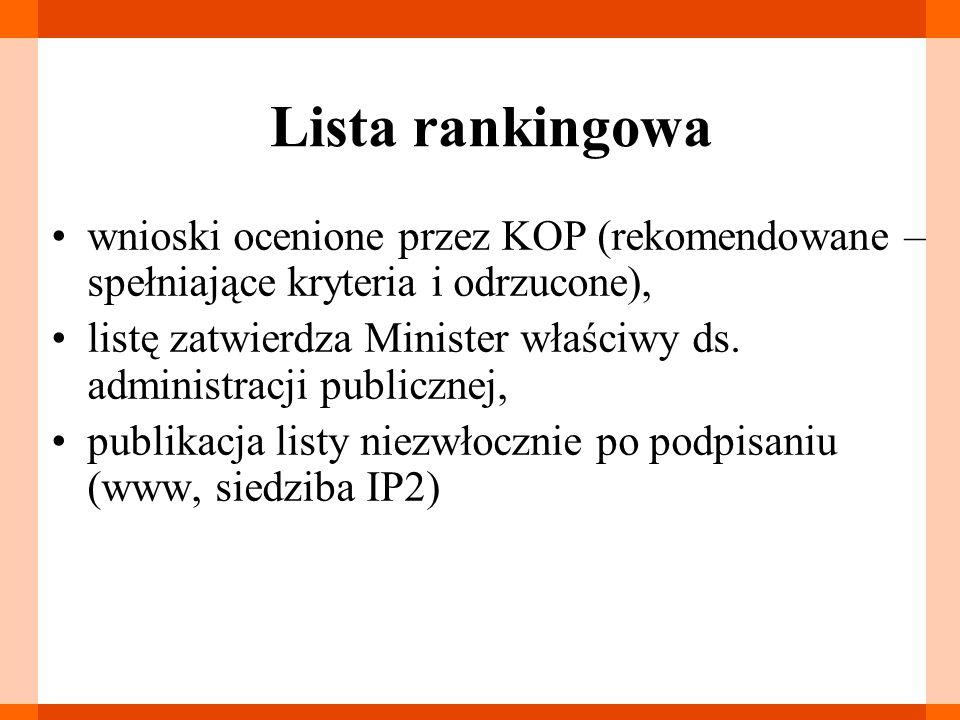 Lista rankingowa wnioski ocenione przez KOP (rekomendowane – spełniające kryteria i odrzucone), listę zatwierdza Minister właściwy ds. administracji p
