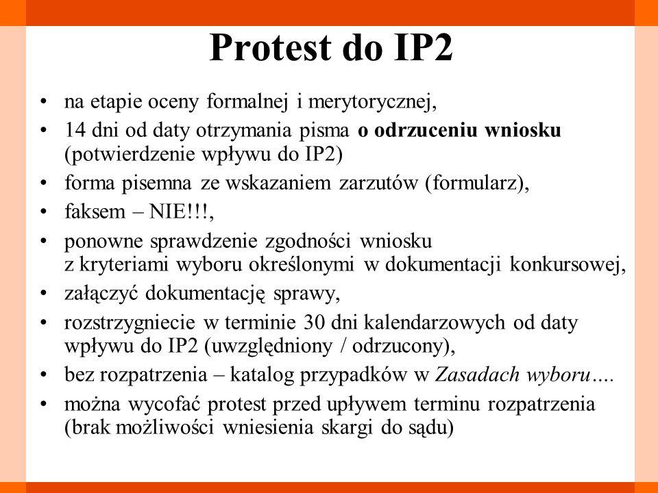 Protest do IP2 na etapie oceny formalnej i merytorycznej, 14 dni od daty otrzymania pisma o odrzuceniu wniosku (potwierdzenie wpływu do IP2) forma pis