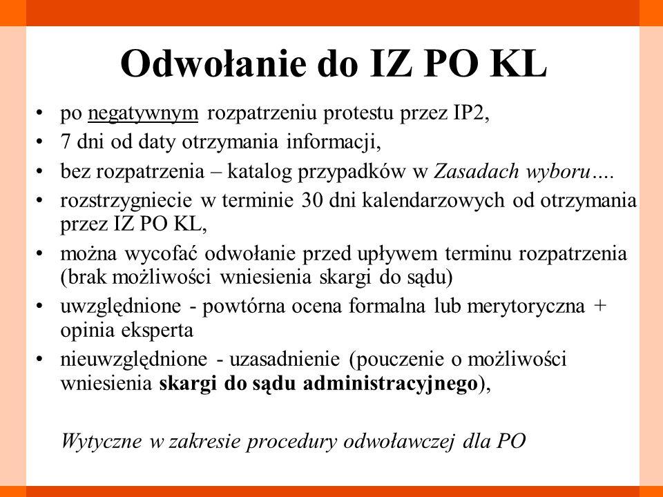 Odwołanie do IZ PO KL po negatywnym rozpatrzeniu protestu przez IP2, 7 dni od daty otrzymania informacji, bez rozpatrzenia – katalog przypadków w Zasa