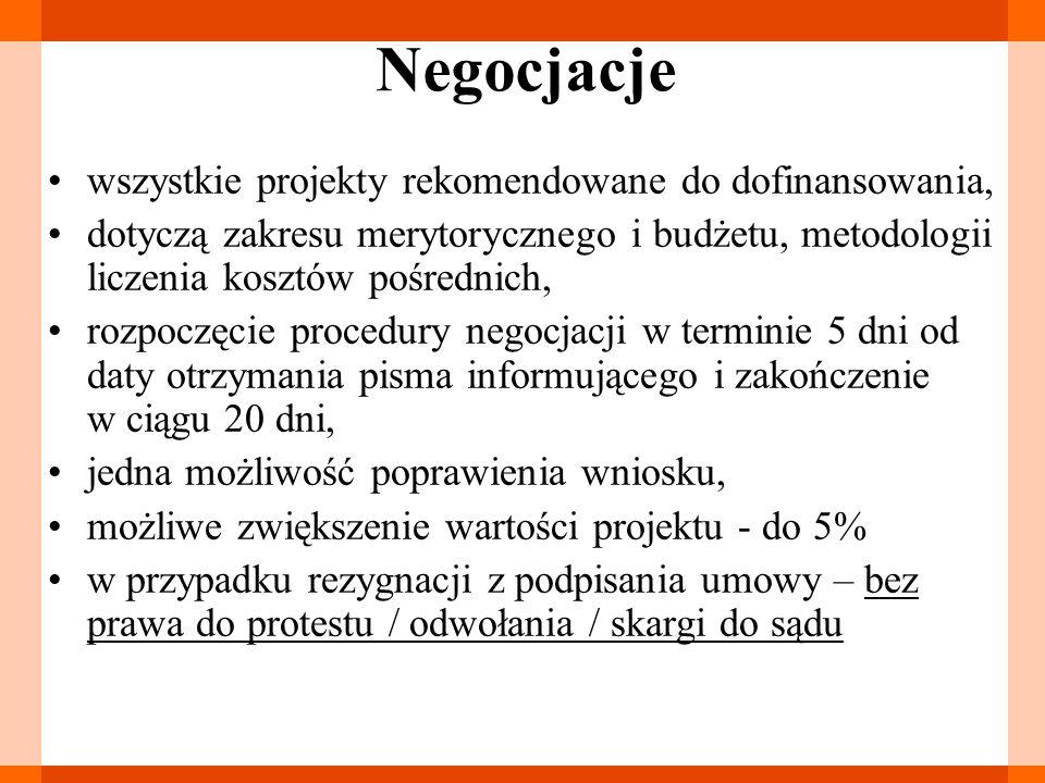 Negocjacje wszystkie projekty rekomendowane do dofinansowania, dotyczą zakresu merytorycznego i budżetu, metodologii liczenia kosztów pośrednich, rozp