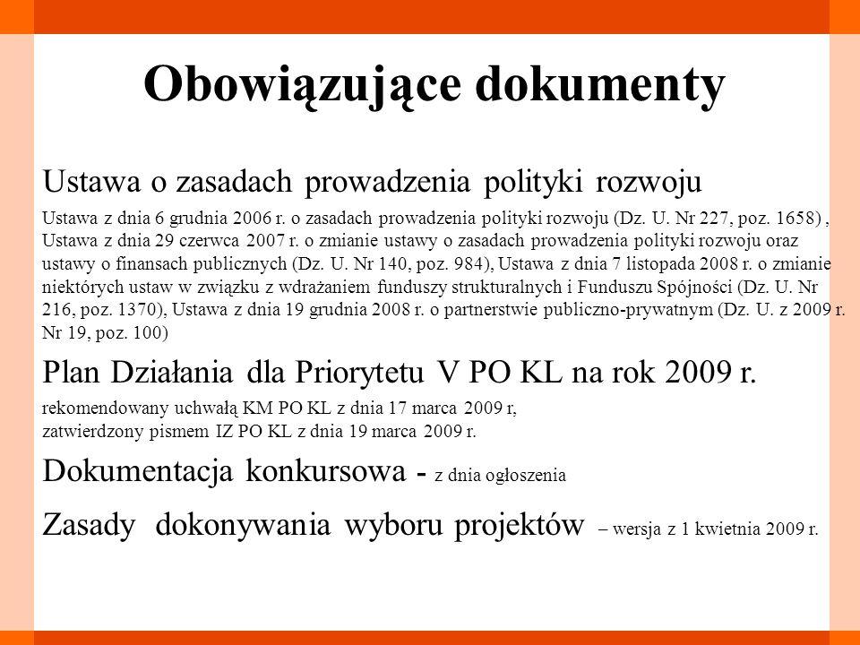Etap aplikowania Zasady dokonywania wyboru projektów PO KL Podręcznik przygotowywania wniosków o dofinansowanie projektów w ramach PO KL Instrukcja wypełniania wniosku Wytyczne w zakresie kwalifikowania wydatków w ramach PO KL Zasada równości szans kobiet i mężczyzn – Poradnik Zasady finansowania PO KL Zakres realizacji projektów partnerskich Przewodnik po kryteriach wyboru projektów (udzielania dofinansowania) w ramach PO KL Formy zabezpieczania realizacji projektów w ramach PO KL
