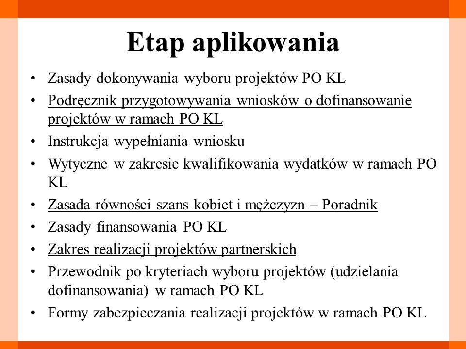 Etap aplikowania Zasady dokonywania wyboru projektów PO KL Podręcznik przygotowywania wniosków o dofinansowanie projektów w ramach PO KL Instrukcja wy