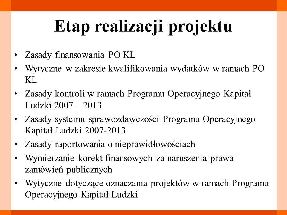 Etap realizacji projektu Zasady finansowania PO KL Wytyczne w zakresie kwalifikowania wydatków w ramach PO KL Zasady kontroli w ramach Programu Operac