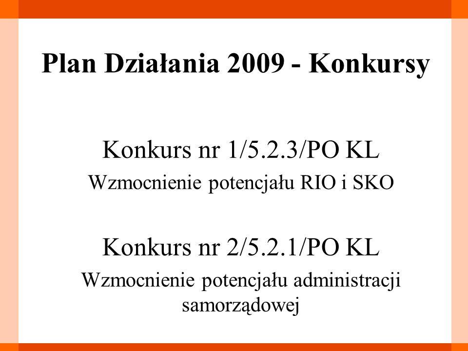 Konkurs nr 2/5.2.1/PO KL Tryb naboru – konkurs otwarty Typy projektów (9) Kryteria wyboru: ogólne, dostępu formalne (6), dostępu merytoryczne (5), strategiczne(3) Termin ogłoszenia konkursu - II kwartał 2009 r.