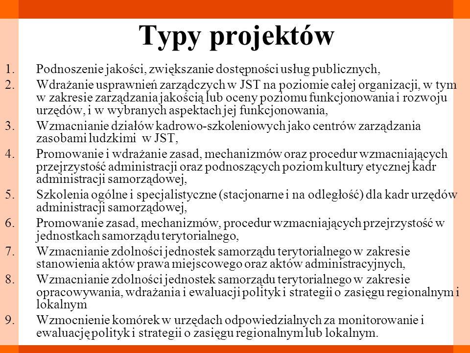 Typy projektów 1.Podnoszenie jakości, zwiększanie dostępności usług publicznych, 2.Wdrażanie usprawnień zarządczych w JST na poziomie całej organizacj