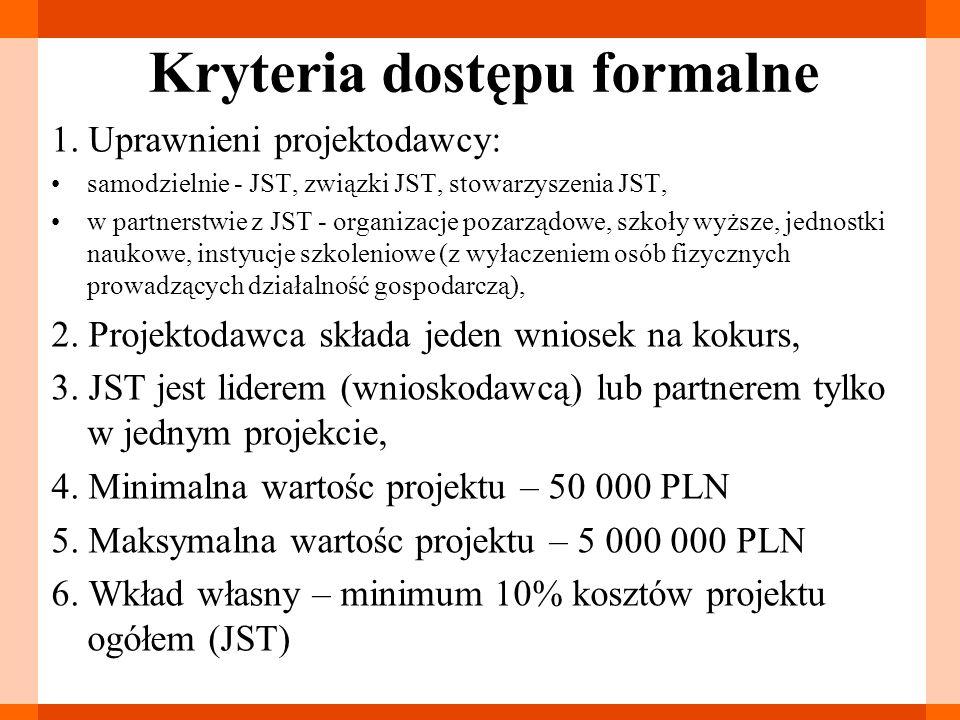 Kryteria dostępu merytoryczne 1.grupa docelowa projektu: JST, biura związków JST, 2.