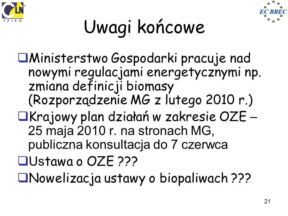 21 Uwagi końcowe Ministerstwo Gospodarki pracuje nad nowymi regulacjami energetycznymi np. zmiana definicji biomasy (Rozporządzenie MG z lutego 2010 r