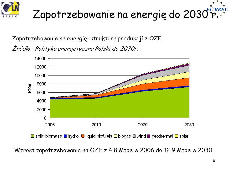 Rynek biomasy Energetyka zawodowa i przemysłowa – współspalanie i kotły dedykowane biomasie, przy współspalaniu od 2008 r.