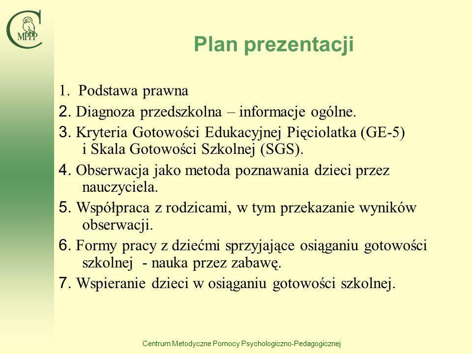 Centrum Metodyczne Pomocy Psychologiczno-Pedagogicznej Plan prezentacji 1. Podstawa prawna 2. Diagnoza przedszkolna – informacje ogólne. 3. Kryteria G
