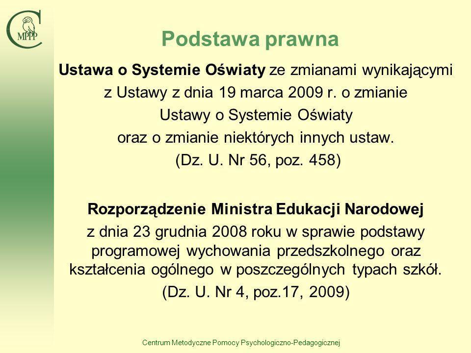 Centrum Metodyczne Pomocy Psychologiczno-Pedagogicznej Podstawa prawna Ustawa o Systemie Oświaty ze zmianami wynikającymi z Ustawy z dnia 19 marca 200