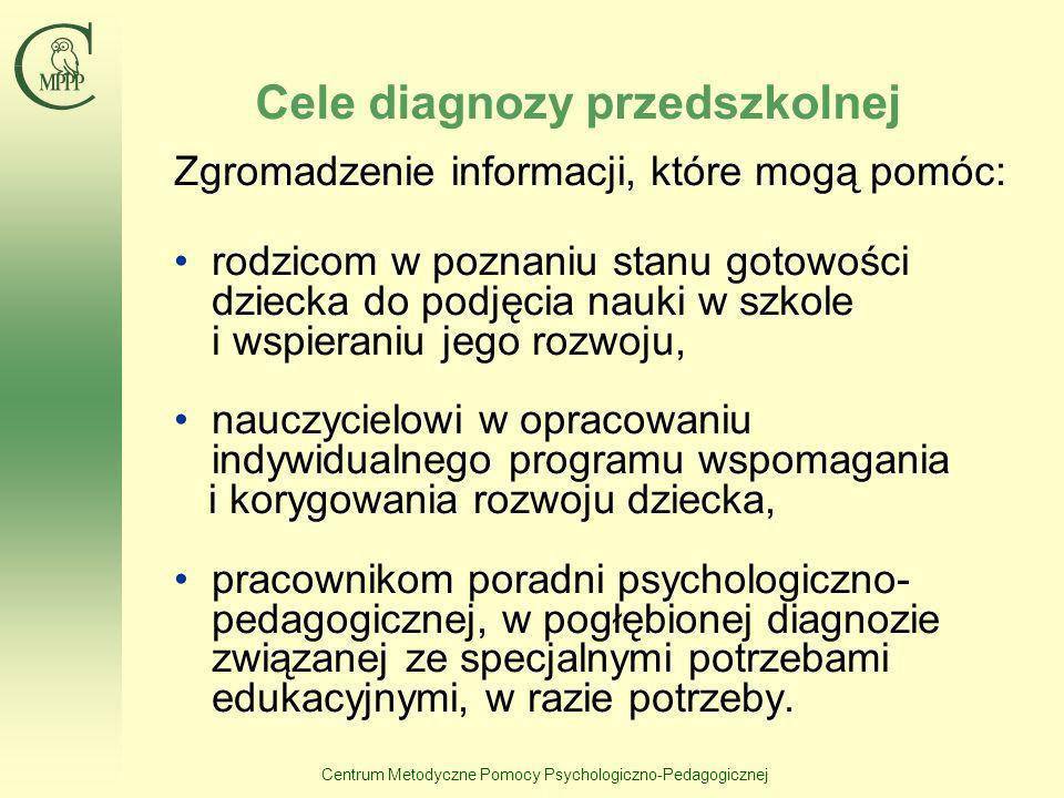 Centrum Metodyczne Pomocy Psychologiczno-Pedagogicznej Cele diagnozy przedszkolnej Zgromadzenie informacji, które mogą pomóc: rodzicom w poznaniu stan