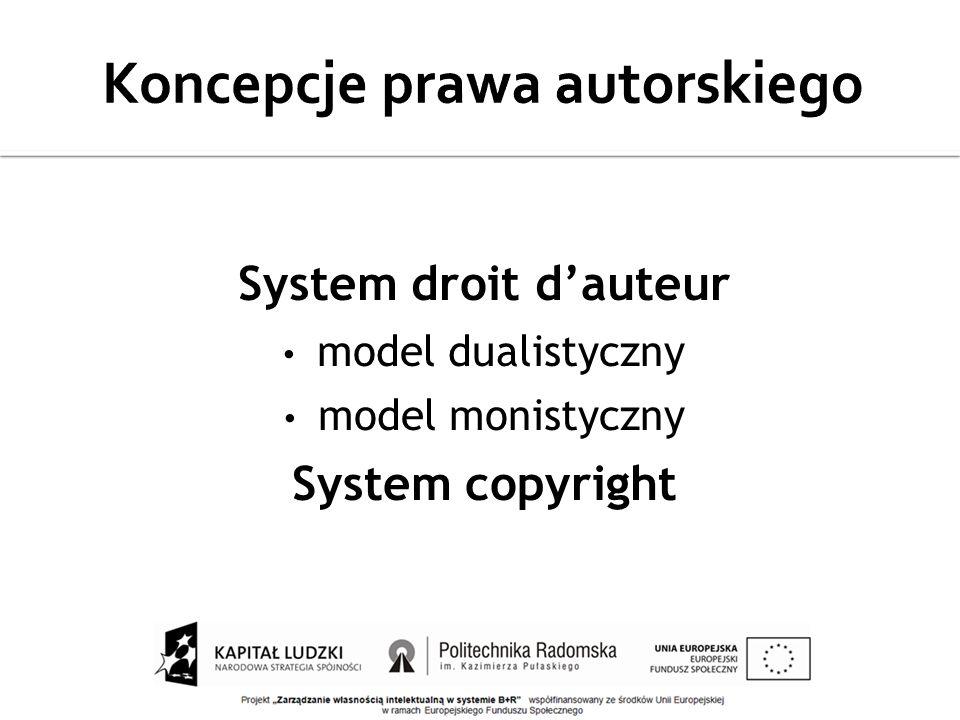 System droit dauteur model dualistyczny model monistyczny System copyright