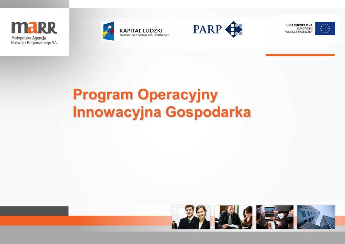 Małopolska Agencja Rozwoju Regionalnego partner PARP wdraża 7 działań PO IG 2007 - 2013 Działanie 1.4 – 4.1 Wsparcie projektów celowych oraz wsparcie wdrożeń wyników prac B+R Działanie 4.2 Stymulowanie działalności B+R oraz wsparcie w zakresie wzornictwa przemysłowego Działanie 4.4 Nowe inwestycje o wysokim potencjale innowacyjnym Działanie 6.1 Paszport do eksportu Działanie 8.1 Wsparcie działalności gospodarczej w dziedzinie gospodarki elektronicznej Działanie 8.2 Wspieranie wdrażania elektronicznego biznesu typu B2B