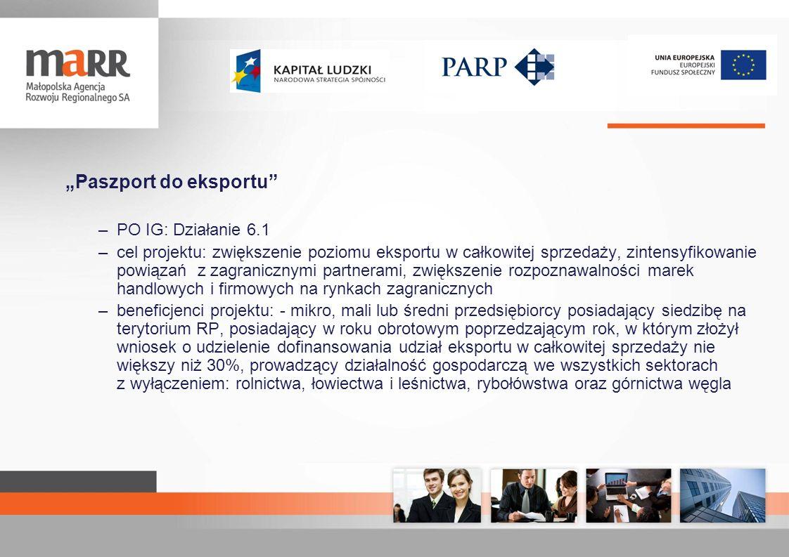 Paszport do eksportu –PO IG: Działanie 6.1 –cel projektu: zwiększenie poziomu eksportu w całkowitej sprzedaży, zintensyfikowanie powiązań z zagraniczn