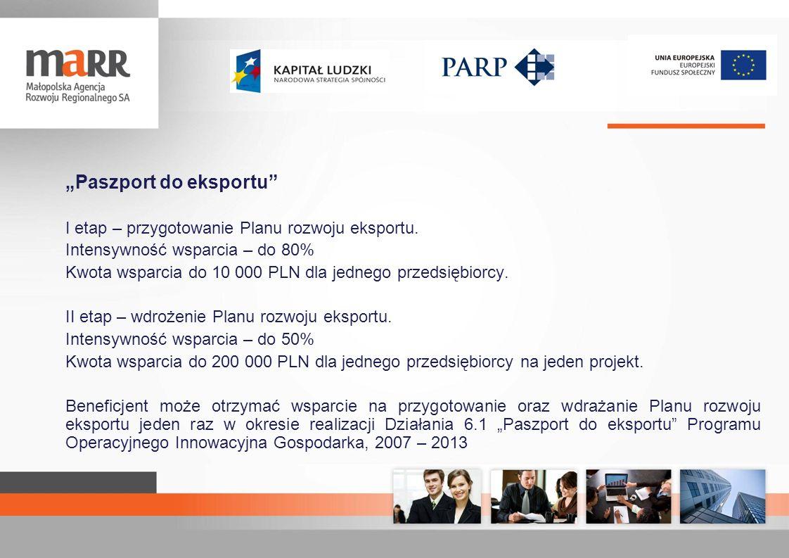 Paszport do eksportu I etap – przygotowanie Planu rozwoju eksportu. Intensywność wsparcia – do 80% Kwota wsparcia do 10 000 PLN dla jednego przedsiębi