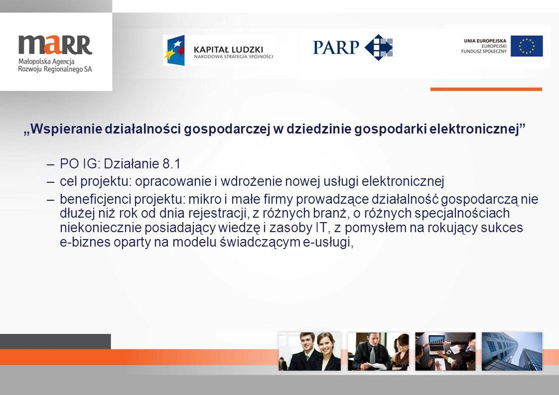 Wspieranie działalności gospodarczej w dziedzinie gospodarki elektronicznej –PO IG: Działanie 8.1 –cel projektu: opracowanie i wdrożenie nowej usługi