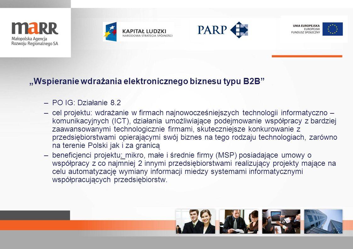 Wspieranie wdrażania elektronicznego biznesu typu B2B –PO IG: Działanie 8.2 –cel projektu: wdrażanie w firmach najnowocześniejszych technologii inform