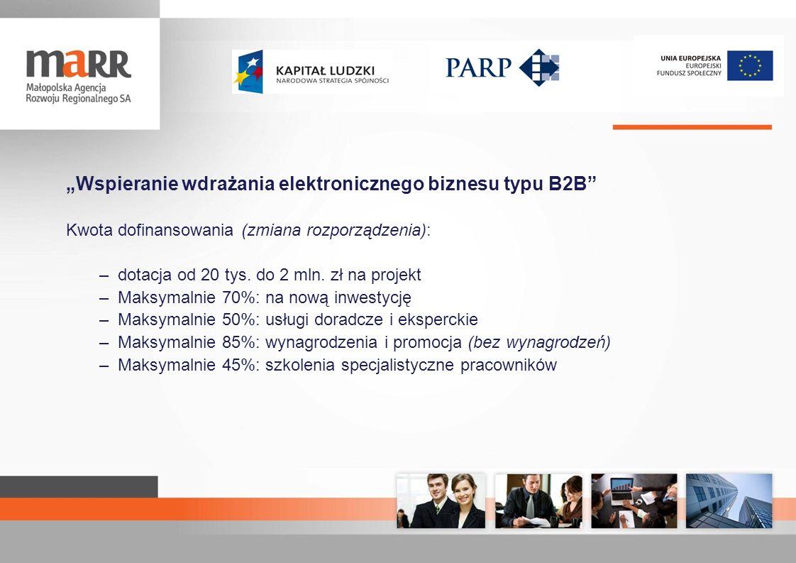 Wspieranie wdrażania elektronicznego biznesu typu B2B Kwota dofinansowania (zmiana rozporządzenia): –dotacja od 20 tys. do 2 mln. zł na projekt –Maksy