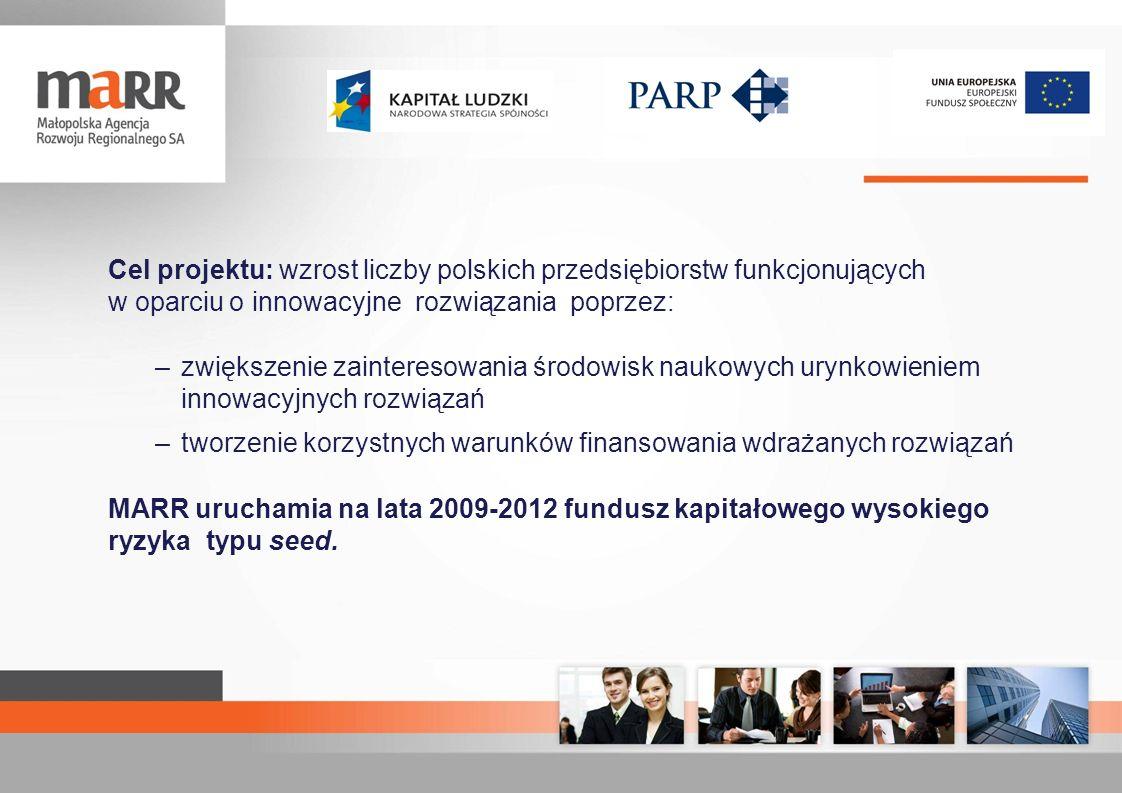 Cel projektu: wzrost liczby polskich przedsiębiorstw funkcjonujących w oparciu o innowacyjne rozwiązania poprzez: –zwiększenie zainteresowania środowi